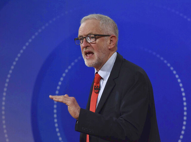 Labour Party Leader Jeremy Corbyn, speaks during a BBC Question Time live debate, in Sheffield, England, Friday, Nov. 22, 2019. ( Jeff Overs/BBC via AP)