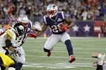 New England Patriots running back Sony Michel carries the ball in the second half of an NFL football game against the Pittsburgh Steelers, Sunday, Sept. 8, 2019, in Foxborough, Mass. (AP Photo/Elise Amendola)