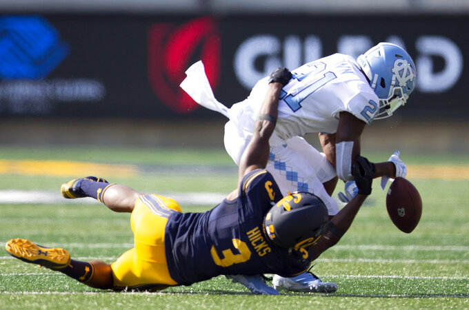 California's Elijah Hicks (3) breaks up a pass intended fro North Carolina wide receiver Dyami Brown (21) during the second half of an NCAA college football game, Saturday, Sept. 1, 2018, in Berkeley, Calif. Cal won 24-17. (AP Photo/D. Ross Cameron)