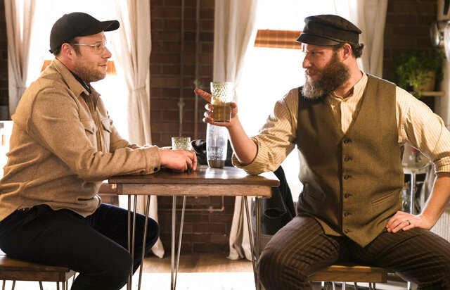This image released by HBO Max shows Seth Rogen portraying Ben Greenbaum, left, and Herschel Greenbaum in a scene from