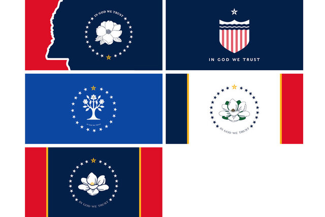 This combination of images provided by the Mississippi Department of Archives and History on Tuesday, Aug. 18, 2020, shows the five proposed designs chosen by the Mississippi State Flag Commission to replace the recently retired flag that included the Confederate battle emblem. The proposals will be made into flags and be flown Aug. 25 in Jackson, Miss. Voters will decide on a new flag in the Nov. 3 election. (Mississippi Department of Archives and History via AP)