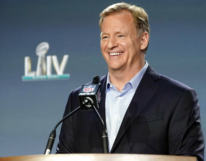 "FILE - In this Jan. 29, 2020, file photo, NFL Commissioner Roger Goodell smiles before answering a question during a news conference for the NFL Super Bowl 54 football game in Miami. Goodell has sent a letter to fans outlining the league's plans to play during the coronavirus pandemic. As veterans begin reporting to training camps this week, Goodell noted Monday, July 27, 2020, how COVID-19 has ""turned the world upside down."" (AP Photo/David J. Phillip, File)"