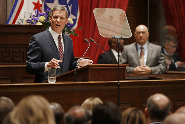 Tennessee Gov. Bill Lee delivers his State of the State Address, Monday, Feb. 3, 2020, in Nashville, Tenn. (AP Photo/Mark Humphrey)