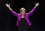 Democratic presidential candidate U.S. Sen. Elizabeth Warren, gestures toward delegates during the 2019 Massachusetts Democratic Party Convention, Saturday, Sept. 14, 2019, in Springfield, Mass. (AP Photo/Jessica Hill)