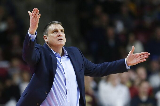 Boston College head coach Jim Christian reacts to a call during the second half of an NCAA college basketball game against Notre Dame in Boston, Saturday, Feb. 2, 2019. (AP Photo/Michael Dwyer)