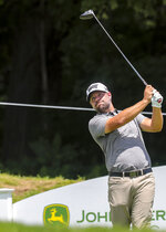 Ryan Moore tees off on the 18th hole during the first round of the John Deere Classic at TPC Deere Run in Silvis, Ill., Thursday, July 11, 2019. (Andy Abeyta/Quad City Times via AP)