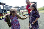 Intern Blake Mitchell introduces Kenny Costanzo ,left, and sister Braelynn to Josie, a Columbian red-tailed boa, at Gator Country in Fannett, Texas Monday, May 11, 2020. Gator Country reopened the first weekend in May after being closed for weeks amid COVID-19 restrictions. (Kim Brent/The Beaumont Enterprise via AP)