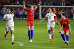 U.S. midfielder Rose Lavelle (16) celebrates after scoring against Mexico during the first half of a CONCACAF women's Olympic qualifying soccer match Friday, Feb. 7, 2020, in Carson, Calif. (AP Photo/Chris Carlson)