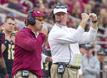 FILE -- In this Nov. 21, 2015 file photo, then-Florida State head coach Jimbo Fisher, left, sends in a play via his offensive coordinator Randy Sanders in an NCAA college football game against Chattanooga in Tallahassee, Fla. Tennessee's home opener with East Tennessee State matches two first-year coaches and former colleagues against each other. Tennessee's Jeremy Pruitt was a defensive coordinator and ETSU's Randy Sanders was quarterbacks coach on Florida State's 2013 national championship team.(AP Photo/Mark Wallheiser, File)