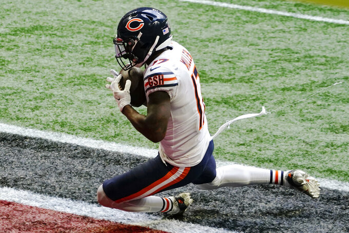 Chicago Bears wide receiver Anthony Miller (17) makes a touchdown catch against the Atlanta Falcons during the second half of an NFL football game, Sunday, Sept. 27, 2020, in Atlanta. (AP Photo/Brynn Anderson)