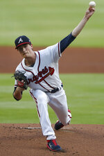 Atlanta Braves starting pitcher Max Fried (54) works against the Toronto Blue Jays in the first inning of a baseball game Tuesday, Aug. 4, 2020, in Atlanta. (AP Photo/John Bazemore)