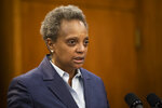 Mayor Lori Lightfoot speaks during a press conference at City Hall to announce the firing of Chicago Police Supt. Eddie Johnson, Monday morning, Dec. 2, 2019. (Ashlee Rezin Garcia/Chicago Sun-Times via AP)