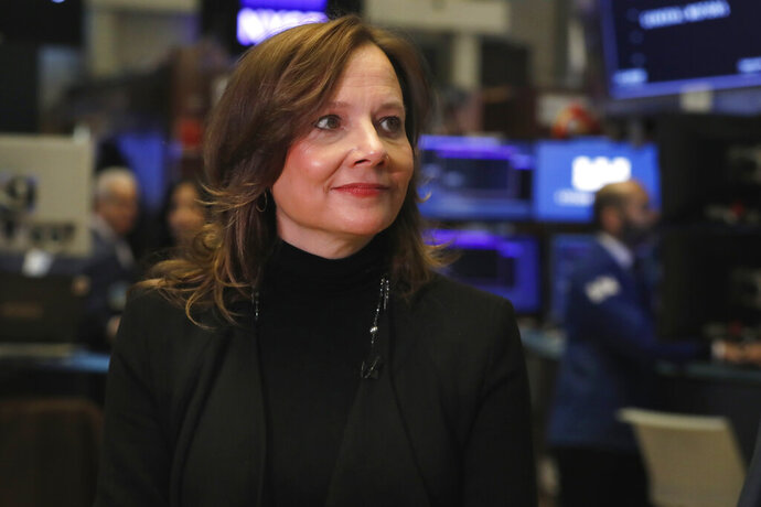 Chairwoman and CEO of General Motors Mary Barra is interviewed on the floor of the New York Stock Exchange, Friday, Jan. 11, 2019. General Motors strengthened its pretax profit estimate for 2018 and predicted even stronger performance for this year as it executives made a presentation to investors on Friday. (AP Photo/Richard Drew)