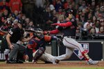 Washington Nationals' Juan Soto hits an R BI single during the eighth inning of Game 7 of the baseball World Series against the Houston Astros Wednesday, Oct. 30, 2019, in Houston. (AP Photo/David J. Phillip)
