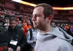Clemson's Hunter Renfrow listens to a question during media day for the NCAA college football playoff championship game Saturday, Jan. 5, 2019, in Santa Clara, Calif. (AP Photo/Chris Carlson)