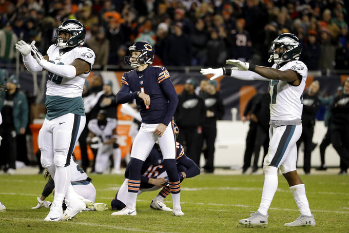 FILE - In this Sunday, Jan. 6, 2019 file photo, Chicago Bears kicker Cody Parkey (1) watches as he misses a field goal in the final minute during the second half of an NFL wild-card playoff football game against the Philadelphia Eagles in Chicago. Cody Parkey is back in the NFL and ready to kick again, memories of 2018 and especially his missed field goal attempt called Double Doink left behind in the past. The Titans (2-3) signed Parkey on Tuesday, Oct. 8, 2019 after releasing Cairo Santos on Monday, a day after he missed three field goals and had a fourth blocked in a 14-7 loss to Buffalo.(AP Photo/Nam Y. Huh, File)