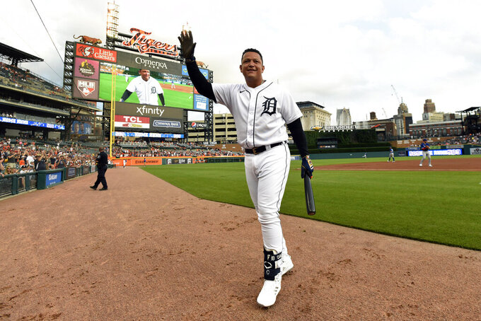 Detroit Tigers designated hitter Miguel Cabrera acknowledges the crowd during the first inning of the team's baseball game against the Toronto Blue Jays on Friday, Aug. 27, 2021, in Detroit. A video honored Cabrera for his recent 500th career home run. (AP Photo/Jose Juarez)