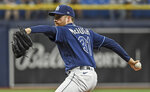Tampa Bay Rays starter Collin McHugh ptiches against the Cleveland Indians during the first inning in the second baseball game of a doubleheader Wednesday, July 7, 2021, in St. Petersburg, Fla.(AP Photo/Steve Nesius)