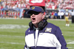 Notre Dame head coach Brian Kelly yells at an official during the first half of an NCAA college football game between Wisconsin and Notre Dame Saturday, Sept. 25, 2021, in Chicago. (AP Photo/Charles Rex Arbogast)