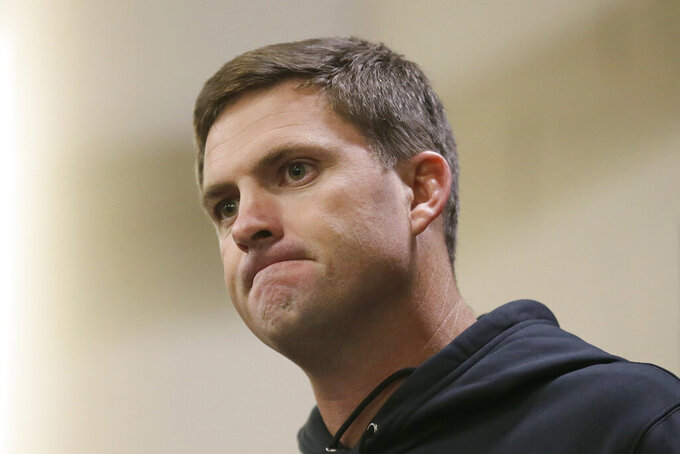 Cincinnati Bengals head coach Zac Taylor speaks at a news conference after an NFL football game between the Los Angeles Rams and the Bengals, Sunday, Oct. 27, 2019, at Wembley Stadium in London. (AP Photo/Tim Ireland)