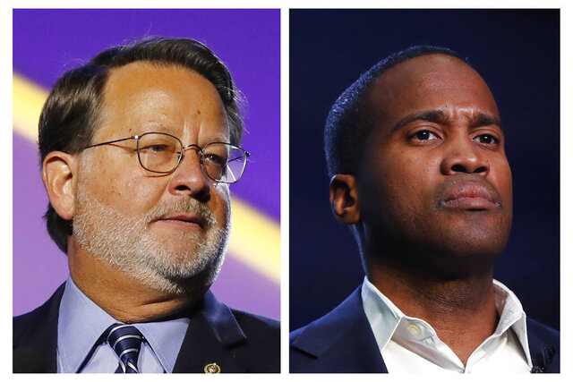 FILE - In this combination of 2018 and 2019 file photos are, from left, Democratic U.S. Sen. Gary Peters, D-Mich., and Republican U.S. Senate candidate John James. James raised $3.5 million in the last quarter, $1 million more than Peters. (AP Photos, File)