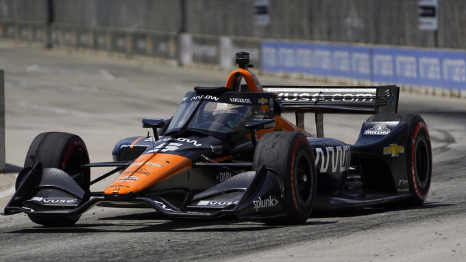 Pato O'Ward (5) races during the second race of the IndyCar Detroit Grand Prix auto racing doubleheader on Belle Isle in Detroit Sunday, June 13, 2021. O'Ward won the race. (AP Photo/Paul Sancya)