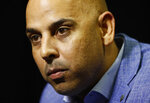 Boston Red Sox manager Alex Cora speaks with the media during Major League Baseball winter meetings, Tuesday, Dec. 11, 2018, in Las Vegas. (AP Photo/John Locher)