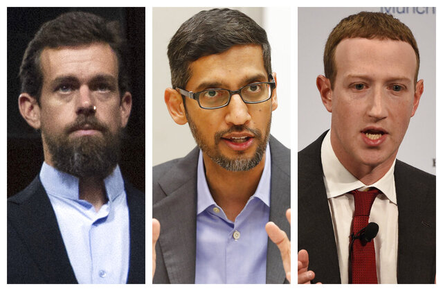 This combination of 2018-2020 photos shows, from left, Twitter CEO Jack Dorsey, Google CEO Sundar Pichai, and Facebook CEO Mark Zuckerberg. They are expected to testify in an Oct. 28, 2020 Senate hearing on tech companies' control over hate speech and misinformation on their platforms. (AP Photo/Jose Luis Magana, LM Otero, Jens Meyer)