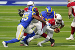 Arizona Cardinals quarterback Kyler Murray (1) is sacked by Los Angeles Rams defensive end Morgan Fox during the first half of an NFL football game Sunday, Jan. 3, 2021, in Inglewood, Calif. (AP Photo/Ashley Landis)