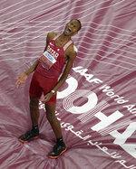 Gold medalist Mutaz Essa Barshim, of Qatar, celebrates after the men's high jump final at the World Athletics Championships in Doha, Qatar, Friday, Oct. 4, 2019. (AP Photo/Nick Didlick)