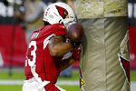 Arizona Cardinals wide receiver Christian Kirk (13) runs into the goal post on an incomplete pass during the second half of an NFL football game against the Los Angeles Rams, Sunday, Dec. 1, 2019, in Glendale, Ariz. The Rams won 34-7. (AP Photo/Rick Scuteri)