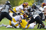Minnesota running back Shannon Brooks (4) dives to pick up yardage against Purdue during the second half of an NCAA college football game in West Lafayette, Ind., Saturday, Sept. 28, 2019. Minnesota defeated Purdue 38-31. (AP Photo/Michael Conroy)