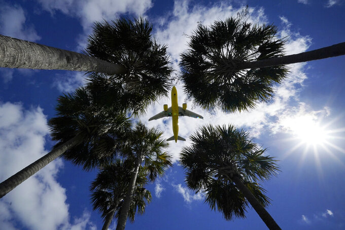 FILE - In this Friday, March 19, 2021 file photo, an airliner lands at Tampa International Airport in Tampa, Fla. (AP Photo/Gene J. Puskar, File)