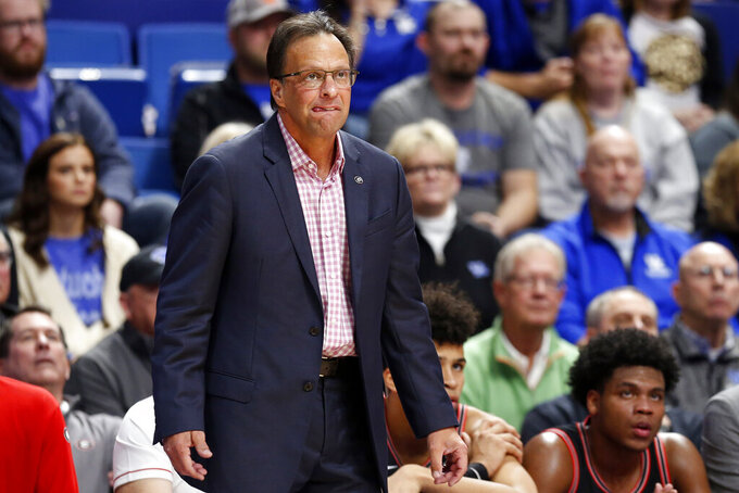 Georgia head coach Tom Crean watches his team during an NCAA college basketball game against Kentucky in Lexington, Ky., Tuesday, Jan 21, 2020. (AP Photo/James Crisp)
