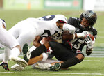 Arizona linebacker Colin Schooler and safety Samari Springs (29) pull down Hawaii wide receiver Jared Smart (23) during the second quarter of an NCAA college football game Saturday, Aug. 24, 2019, in Honolulu. (AP Photo/Marco Garcia)