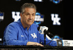 Kentucky head coach John Calipari listens to a question during a news conference at the NCAA men's college basketball tournament Thursday, March 28, 2019, in Kansas City, Mo. Kentucky plays Houston in a Midwest Regional semifinal on Friday. (AP Photo/Jeff Roberson)