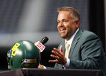 FILE - In this July 16, 2019, file photo, Baylor head coach Matt Rhule speaks during the Big 12 Conference NCAA college football media day, in Arlington, Texas. Rhule was selected as the AP All-Big 12 Coach of the Year, Friday, Dec. 13, 2019. (AP Photo/David Kent, File)