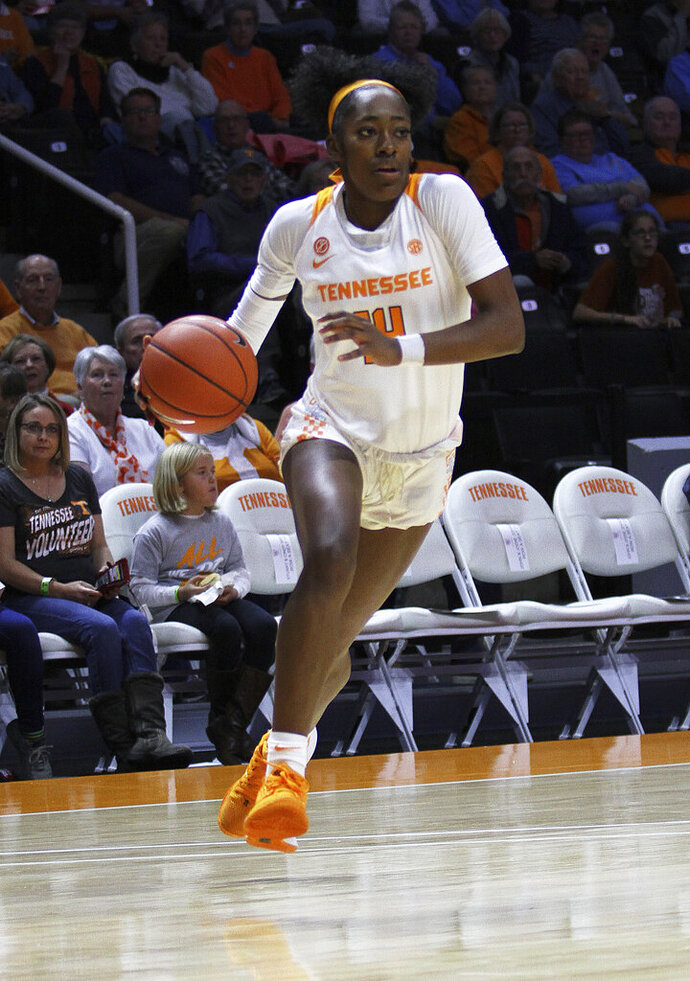 Tennessee's Zaay Green drives to the basket against Central Arkansas during an NCAA college basketball game Thursday, Nov. 7, 2019, in Knoxville, Tenn. (Tom Sherlin/The Daily Times via AP)