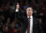 Portland Trail Blazers head coach Terry Stotts signals from the sideline during the second half of Game 1 of a first-round NBA basketball playoff series against the Oklahoma City Thunder in Portland, Ore., Sunday, April 14, 2019. (AP Photo/Steve Dipaola)