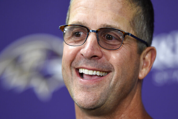 Baltimore Ravens head coach John Harbaugh speaks at a news conference after an NFL football game against the Arizona Cardinals, Sunday, Sept. 15, 2019, in Baltimore. (AP Photo/Gail Burton)