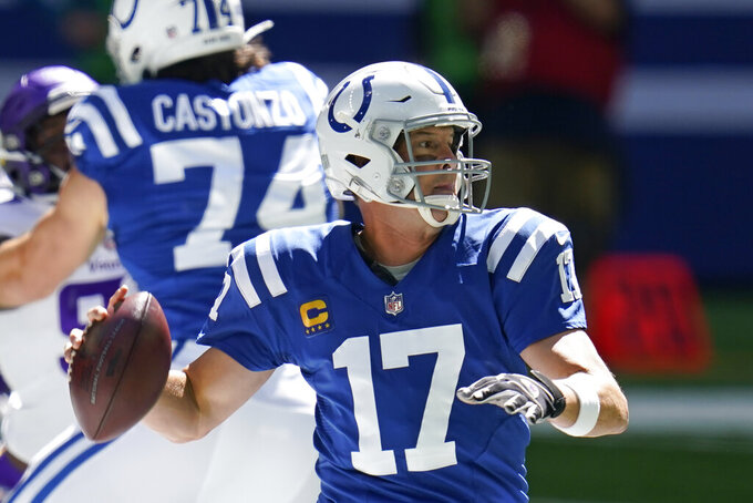 Indianapolis Colts quarterback Philip Rivers (17) throws during the first half of an NFL football game against the Minnesota Vikings, Sunday, Sept. 20, 2020, in Indianapolis. (AP Photo/Michael Conroy)
