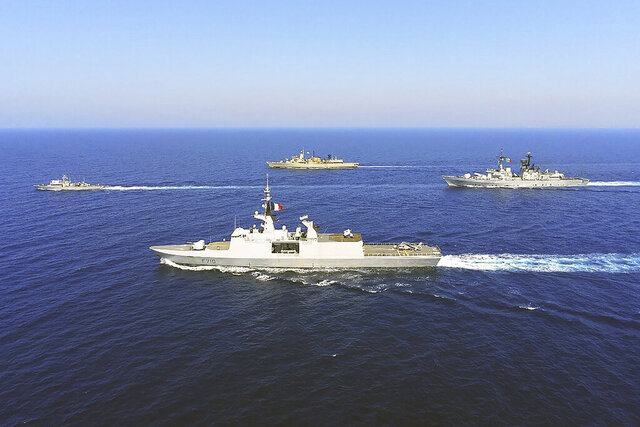 In this photo provided on Monday, Aug. 31, 2020, by the Greek Defense Ministry, warships from Greece, Italy, Cyprus and France, participate in a joint military exercise which was held from 26-28 of August, south of Turkey in eastern Mediterranean sea.  Turkey on Monday, Aug. 31, accused Greece of