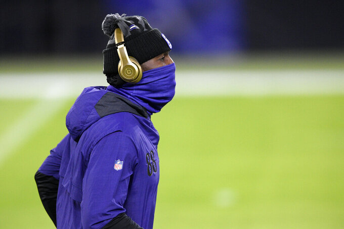 Baltimore Ravens wide receiver Dez Bryant works out prior to an NFL football game against the Dallas Cowboys, Tuesday, Dec. 8, 2020, in Baltimore. (AP Photo/Nick Wass)