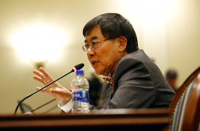 FILE - In this Nov. 15, 2018, file photo, University of Maryland president Wallace Loh speaks at a House of Delegates appropriations committee hearing in Annapolis, Md. The University of Maryland will have medical staff tending to the school's sports teams employed outside of the athletics department. This would include the head team physician, athletic trainers, nutritionists and mental health practitioners. (AP Photo/Patrick Semansky, File)