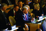 President Donald Trump listens during the the United Nations Climate Action Summit during the General Assembly, Monday, Sept. 23, 2019, in New York. From left, National Security Adviser Robert C. O'Brien, White House chief of staff Mick Mulvaney, Secretary of State Mike Pompeo, Trump, Vice President Mike Pence, and U.S. Ambassador to the United Nations Kelly Craft. (AP Photo/Evan Vucci)