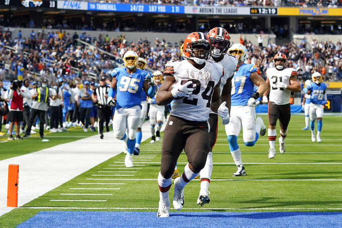 Cleveland Browns running back Nick Chubb (24) scores a touchdown against the Los Angeles Chargers during the second half of an NFL football game Sunday, Oct. 10, 2021, in Inglewood, Calif. (AP Photo/Gregory Bull)