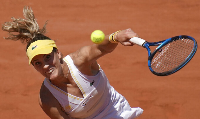 United States's Bernarda Pera serves to Australia's Ashleigh Barty during their first round match on day three of the French Open tennis tournament at Roland Garros in Paris, France, Tuesday, June 1, 2021. (AP Photo/Christophe Ena)