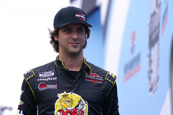 Josh Bilicki at a NASCAR Cup Series auto race, Sunday, July 18, 2021, in Loudon, N.H. (AP Photo/Charles Krupa)