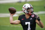 Nebraska quarterback Luke McCaffrey (7) warms up before an NCAA college football game against Illinois, in Lincoln, Neb., Saturday, Nov. 21, 2020. (AP Photo/Nati Harnik)