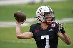Nebraska quarterback Luke McCaffrey (7) warms up before an NCAA college football game against Illinois, in Lincoln, Neb., Saturday, Nov. 21, 2020. (AP Photo/Nati Harnik)